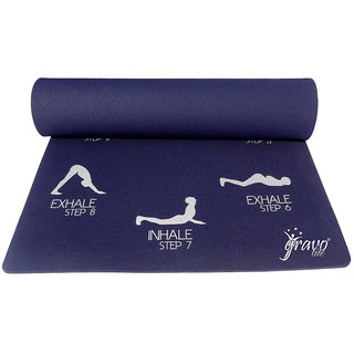 Gravolite 7Mm Thick 2.3 Feet Wide 6.5 Feet Lenght Sun Salutation Premium Yoga Mat Navy Blue