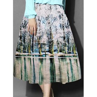 Helix Enterprise White  Sky Blue Colour Printed Womens Skirt HFST-02