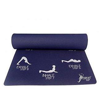Gravolite 4Mm Thick 2.5 Feet Wide 6.5 Feet Lenght Sun Salutation Premium Yoga Mat Navy Blue