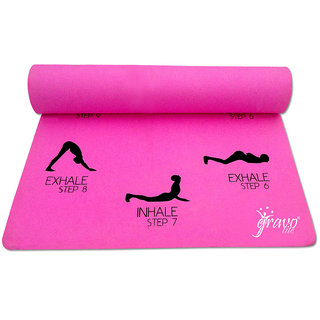 Gravolite 9Mm Thick 2.5 Feet Wide 6.5 Feet Lenght Sun Salutation Premium Yoga Mat Pink