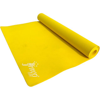 Gravolite 4Mm Thickness 2.5 Feet Wide 6 Feet Length Plain Yoga Mat Yellow Color With Strap