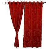 Door Curtain - Red Color - Leaf Pattern