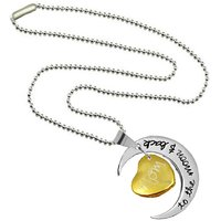 Men Style Antique Silver Plated Mothers Day Gift I Love You To The Moon and Back Two-Piece Pendant Necklace  GoldSi
