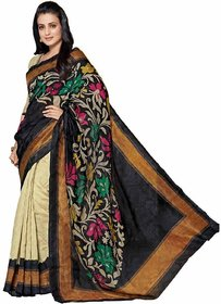 Royal Fashion Black & Cream Silk Printed Saree With Blouse