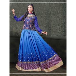 Fabliva Blue Embroidered Crepe Anarkali Suit