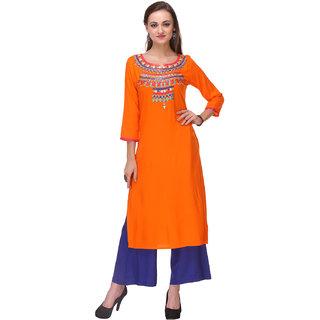 Varanga Orange Rayon Embroidered Kurta with Palazzo