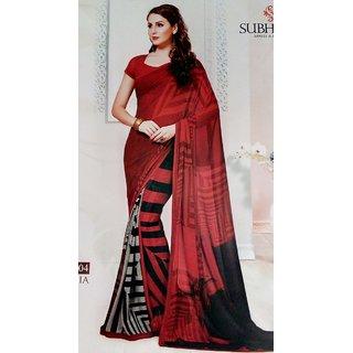 Subhash Sarees Black & Red Georgette Geometric Saree With Blouse