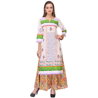 Varanga White Printed Cotton Stitched Kurti