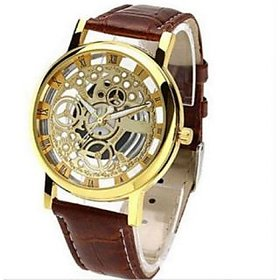 Addic Skeleton Transparent Watch Brown Belt Analog Mens Watch.