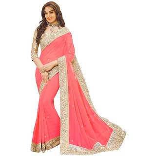 Leeps Prints Multicolor Georgette Plain Border Saree With Blouse( Colours Available)