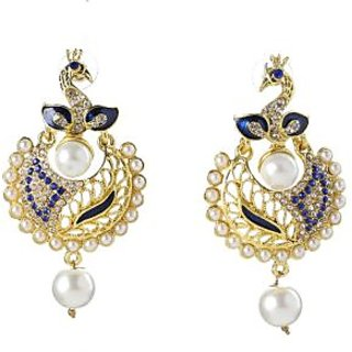 Biyu Alloy Gold Plating Cubiz Zirconia Studded Blue Coloured Earrings