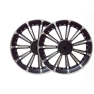 BikenWear A-599-Classic-350 11 Spokes Alloy Wheel Classic-350 Model Black Silver