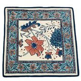 Cushion Cover - Floral Print - Blue And Pink Color - Mughal