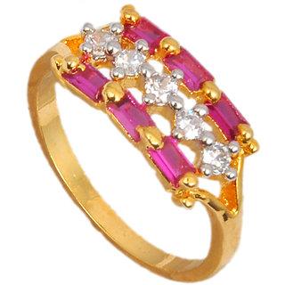 Maayra Pink American Diamond Wedding Free-size Finger Ring