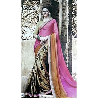 Neha Fashionss Multicolor Georgette Printed Saree With Blouse