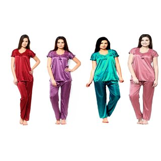93a9d404ad0f7 Buy Riya - multi color.Causal.baby doll Satin 4 pc pack of Night ...
