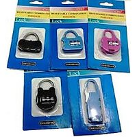 (Set of 2) 3 Digit Resettable code Password Number Lock Combination Bag Padlock