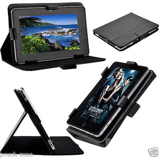 Colorkart 7 Inch Stand Case Flip cover for Datawind Ubislate 7SC - Black
