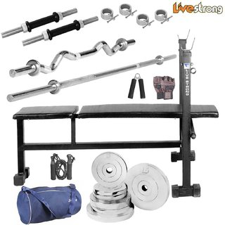 LiveStrong 22 kg chrome steel plates  home gym combo 4 with Blue Gym Bag