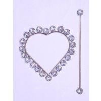 Beautiful Heart Shape Crystal Stone Curtain Lock White (Set Of 2)
