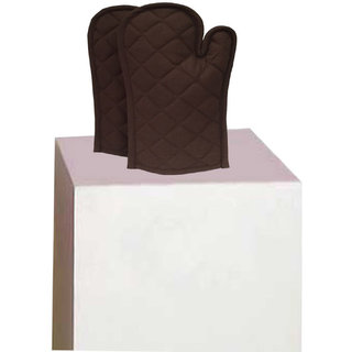 Lushomes Cotton Brown Set of 2 Oven Mittens