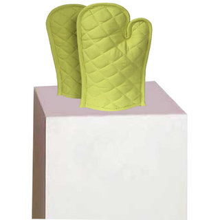 Lushomes Cotton Light Green Set of 2 Oven Mittens
