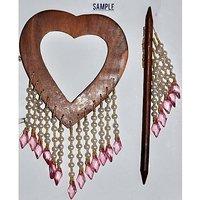 Beautiful Heart Shape Curtain Wooden Lock (Set Of 2 )