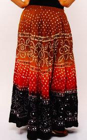 Bandhej Stylish Hand Work Cotton Skirt (Multi Color)