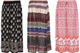 Rajasthani Sarees Pink  White Printed A-Line Skirts (Pack Of 3)