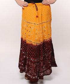 Bandhej Hand Work Cotton Skirt (Yellow)
