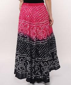 Bandhej Hand Work Stylish Cotton Skirt (Pink)