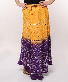 Bandhej Hand Work Stylish Cotton Skirt (Yellow)