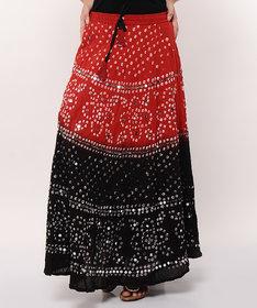 Bandhej Hand Work Stylish Cotton Skirt (Black)