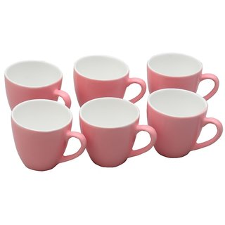 Potters Story Pink Ceramic Tea Mug Set Of 6 For Couples (140 Ml  6.5 Cm)-Lc2014