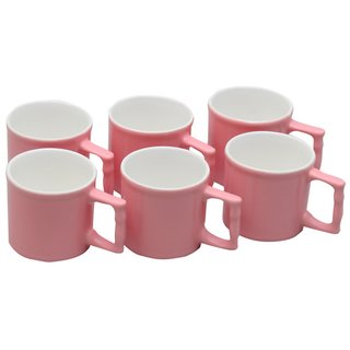 Potters Story Pink Ceramic Coffee Mug Set Of 6 For Couples (110 Ml  5.5 Cm)-Lc2019