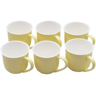 Potters Story Yellow Ceramic Tea Mug Set Of 6 For Parents (140 Ml  7 Cm)-Lc2020