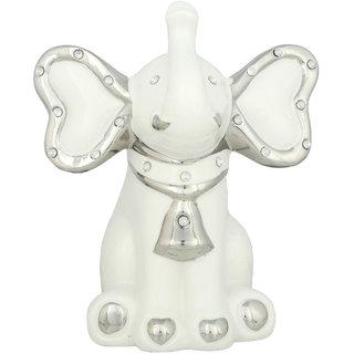 K.S Elephant White Showpiece in Ceramic for Bedroom