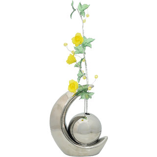 K.S Unique Silver Flower Vase in Ceramic for Bedroom
