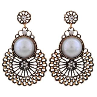 Maayra Trendy White Gold Filigree Cocktail Drop Earrings