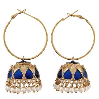 Maayra Graceful Blue Gold Meenakari Sangeet Hoop Earrings