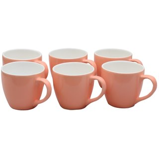 Potters Story Pink Ceramic Tea  Coffee Mug Set Of 6 For Couples (140 Ml  7 Cm)-Lc2024
