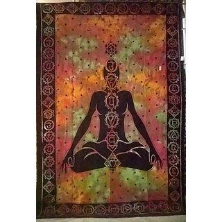 Indian Throw 7 life chakra Human OM Hanging Wall Mandala Bedspread Tapestry