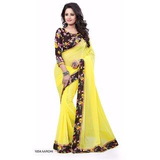 Bhuwal Fashion Yellow Georgette Printed Saree With Blouse