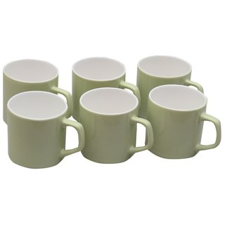 Potters Story Green Ceramic Tea Mug Set Of 6 For Coffee (160 Ml  7 Cm)-Lc2026