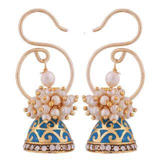 Maayra Suave Blue White Pearl Ceremony Jhumki Earrings