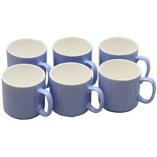 Potters Story Blue Ceramic Tea  Coffee Mug Set Of 6 For Parents (160 Ml  7 Cm)-Lc2030