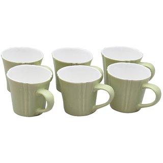 Potters Story Green Ceramic Tea Mug Set Of 6 For Tea (140 Ml  7 Cm)-Lc2032