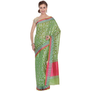 Kataan Bazaar Green Tussar Silk Self Design Saree With Blouse