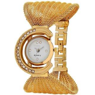 Desser Klein Round Dial Rose Gold Metal Strap Analog Watch For Women