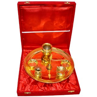 Golden Color Plated Brass Pooja Thali 7 Pieace